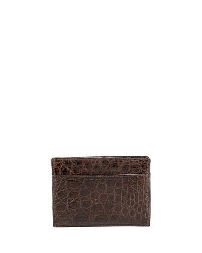 Crocodile Card Case, Brown