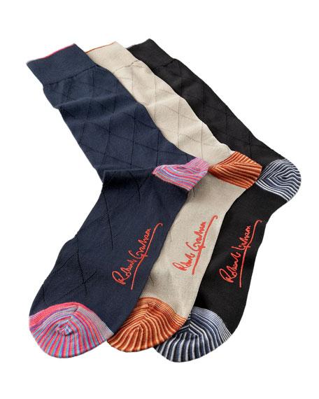Dropstitch Diamond Socks, Three-Pack