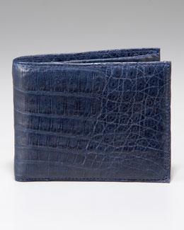 Santiago Gonzalez Crocodile Bi-Fold Wallet, Navy