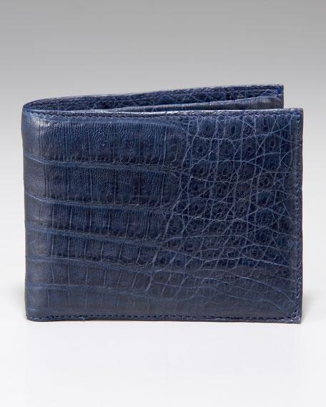 Crocodile Bi-Fold Wallet, Navy