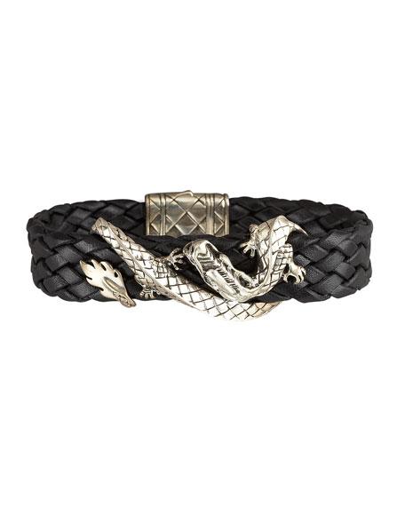 Woven Leather Dragon Bracelet, Black