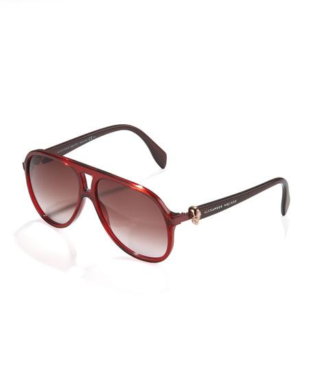 Plastic Skull Aviator Sunglasses, Red