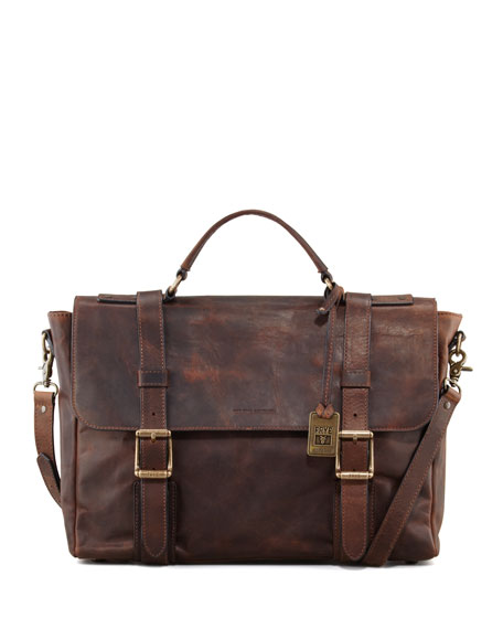 Frye Logan Antiqued Flap Briefcase
