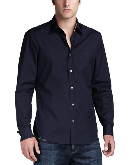 Henry Check-Detail Sport Shirt, Navy