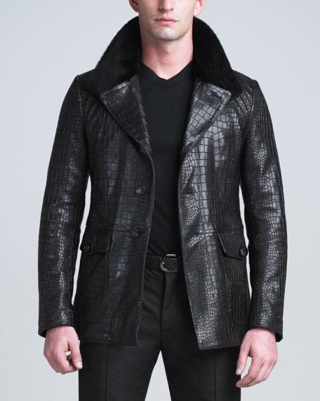 Crocodile-Embossed Lambskin Jacket
