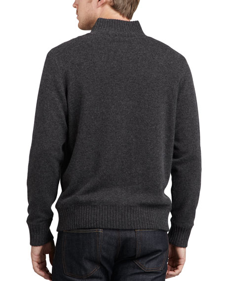 Reversible Cashmere Zip Cardigan, Black/Gray