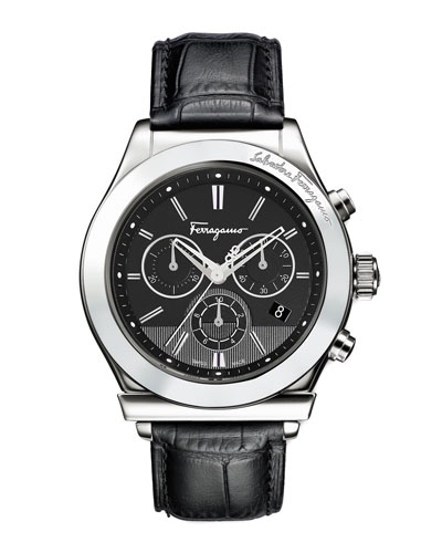 Salvatore Ferragamo Croc-Embossed Chronograph Watch, Black