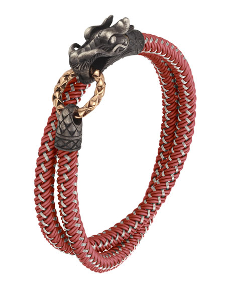 Naga Nylon Cord Wrap Bracelet, Red