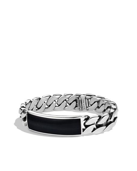 Exotic Stone Narrow ID Bracelet with Black Onyx