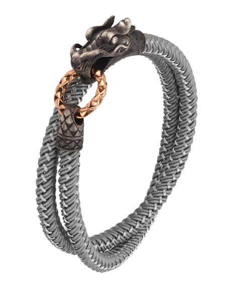 John Hardy Mens Legends Naga Nylon Cord Wrap Bracelet, Gray