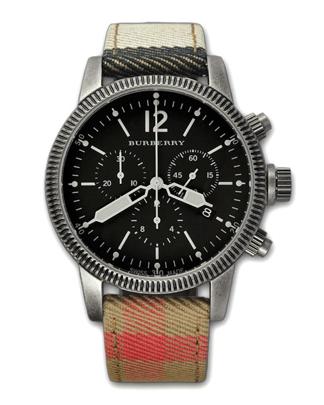 Check-Strap Chronograph Watch