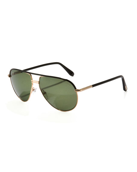Cole Metal Aviator Sunglasses, Shiny Black
