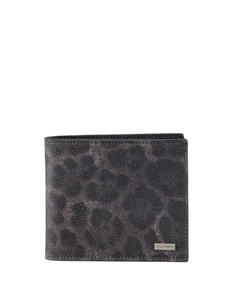 Leopard-Print Logo Wallet
