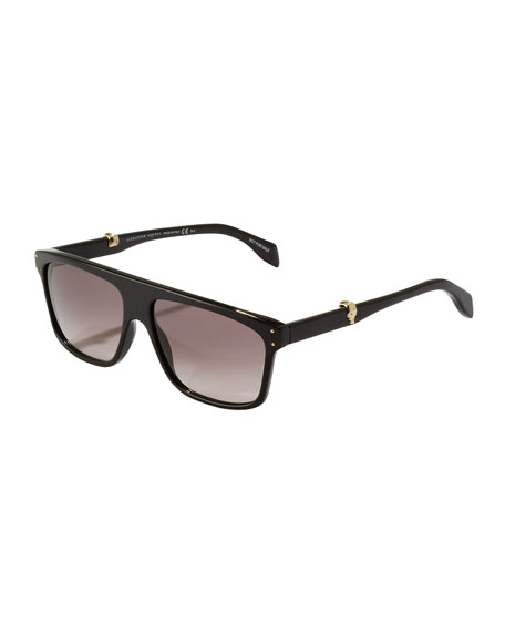 Square Plastic Aviator Sunglasses, Black