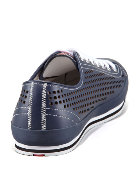 Perforated Low Sneaker, Navy