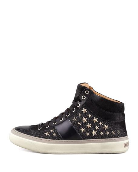 Men's Star-Studded Hi-Top Sneakers, Black/Gunmetal