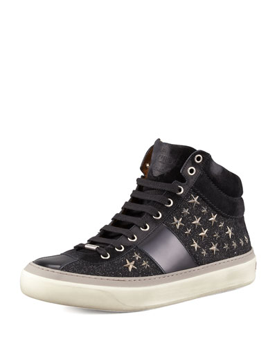 Men's Star-Studded Hi-Top Sneakers, Black/Gunmetal