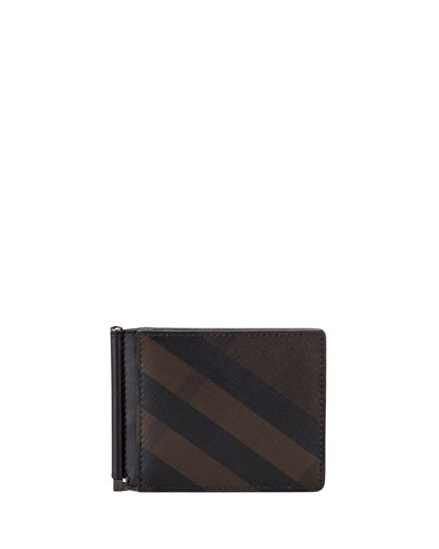 Smoked Check Leather Money Clip Wallet