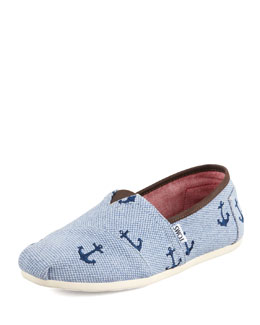 TOMS Anchor Embroidered Canvas Slip-On