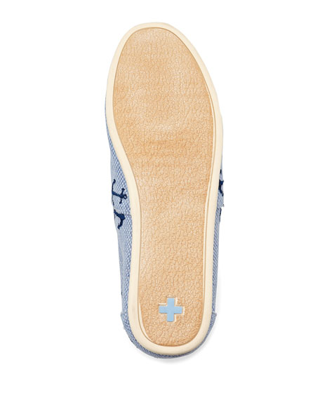 Anchor Embroidered Canvas Slip-On