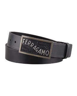 Salvatore Ferragamo Original Logo Plaque Belt, Black