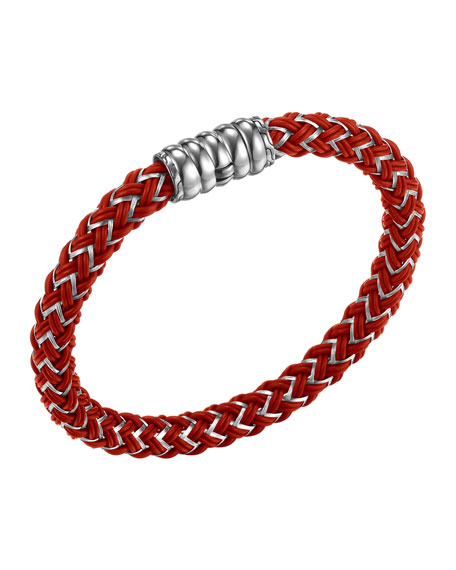 Bedeg Men's Nylon Cord Bracelet, Red