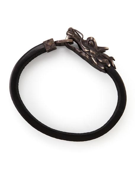 Men's Legends Naga Dragon-Head Leather Bracelet, Black