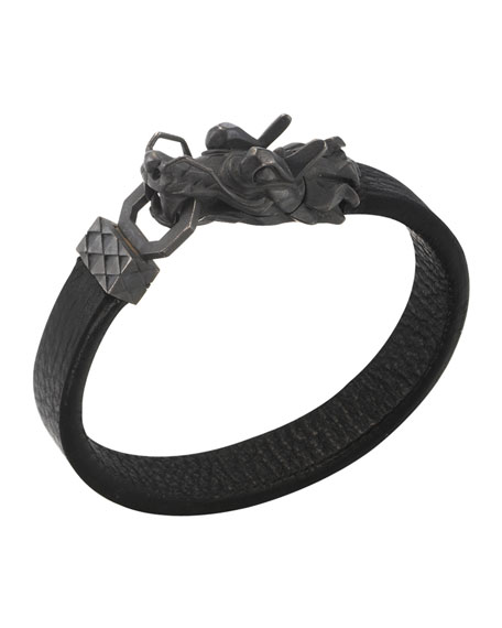John Hardy Men's Legends Naga Dragon-Head Leather Bracelet,