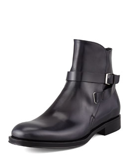 Salvatore Ferragamo Saverio Buckled Strap Boot, Black