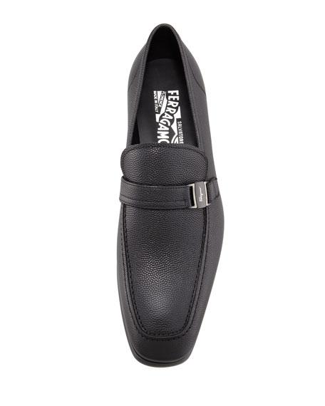 Svezia Pebbled Leather Loafer, Black