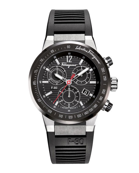Rubber-Strap Chronograph Watch, Black