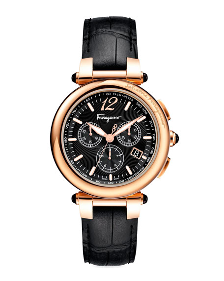 Salvatore Ferragamo Croc-Embossed Chronograph Watch