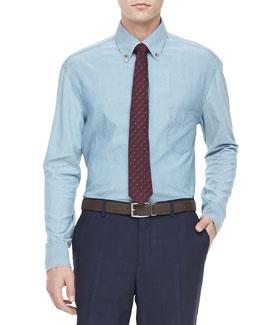 Chambray Button-Down Shirt, Navy