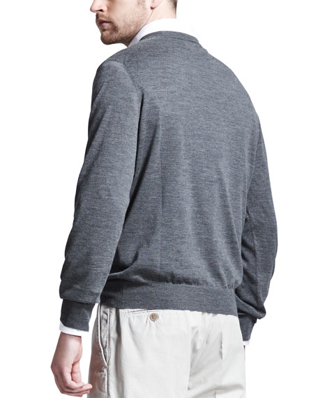 Fine-Gauge Tipped V-Neck Sweater, Gray
