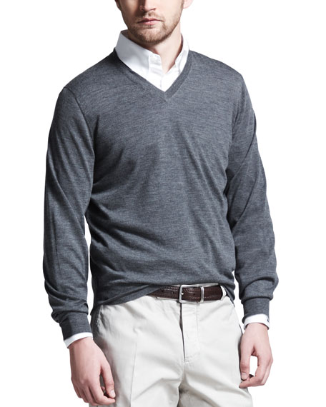 Fine-Gauge Tipped V-Neck Sweater, Gray