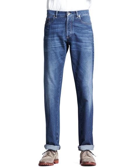 Brunello Cucinelli Lightweight Medium Wash Jeans, Indigo