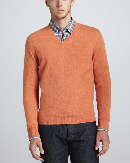 V-Neck Cashmere Pullover Sweater, Tangerine