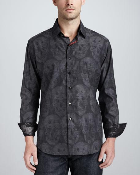 Bitterline Skull-Print Sport Shirt, Black
