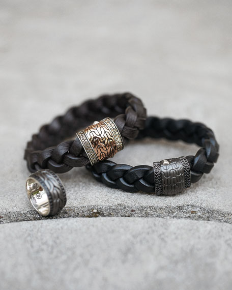 Men's Black Bronze Braided Leather Bracelet, Black