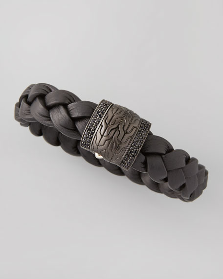 John Hardy Men's Black Bronze Braided Leather Bracelet,