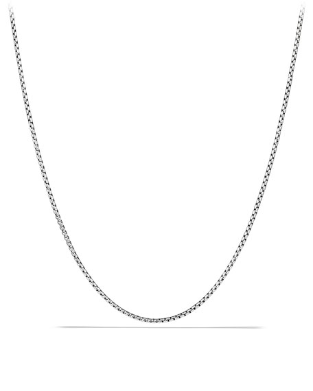 Men's Small Sterling Silver Box Chain Necklace, 24""