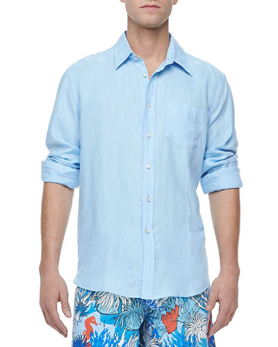 Linen Long-Sleeve Linen Shirt Shirt, Light Blue