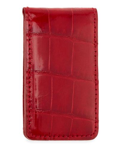 Neiman Marcus Alligator Money Clip, Red
