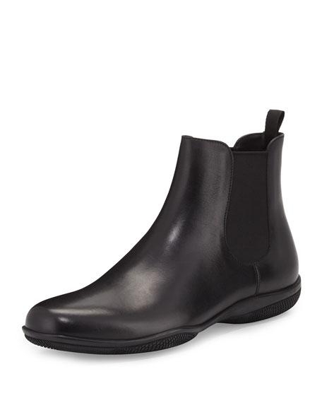 Prada Rubber-Sole Chelsea Boot, Black