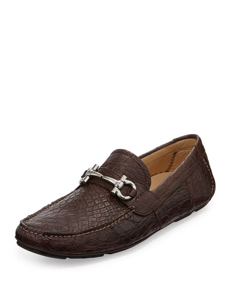 Salvatore Ferragamo Men's Crocodile Gancini Driver, Brown