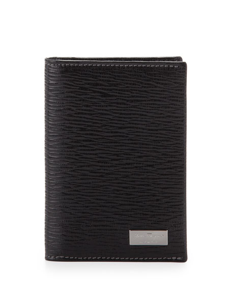 Salvatore Ferragamo Men's Revival Bi-Fold Card Case, Black