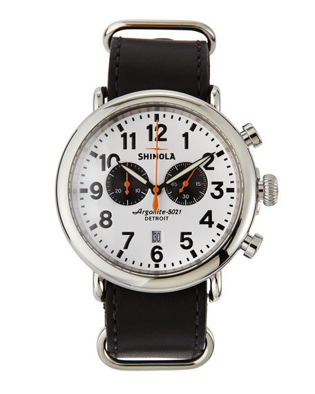 47mm Runwell Chronograph Men's Watch, White/Black