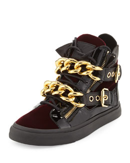 Giuseppe Zanotti Men's Velvet Double-Chain High-Top Sneaker