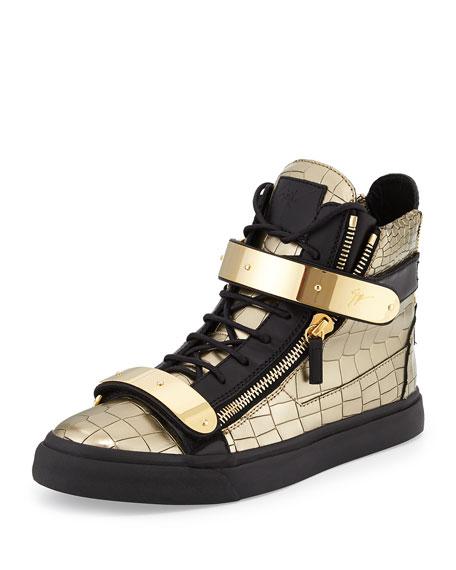 giuseppe zanotti men 39 s faux croc high top sneaker gold. Black Bedroom Furniture Sets. Home Design Ideas