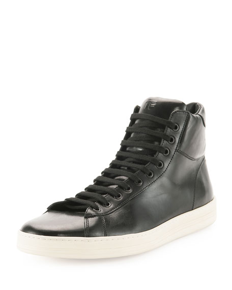 5e5026fb6ce4 TOM FORD Men's Russel Leather High-Top Sneakers, Black | Neiman Marcus